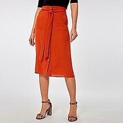 Dorothy Perkins - Rust button through midi skirt