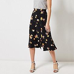 Dorothy Perkins - Black Floral Print Split Midi Skirt