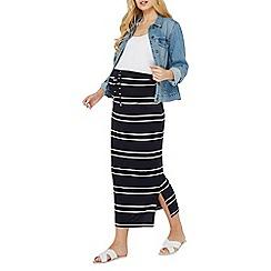 Dorothy Perkins - Maternity navy and ivory striped maxi skirt