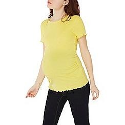 Dorothy Perkins - Maternity lemon short sleeve lettuce trim t-shirt