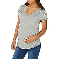 Dorothy Perkins - Maternity grey pearl embellished t-shirt