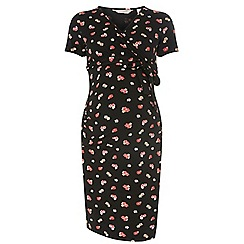 Dorothy Perkins - Maternity black floral wrap dress