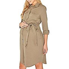 Dorothy Perkins - Maternity khaki linen shirt dress