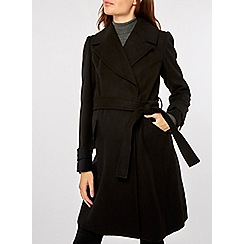 Dorothy Perkins - Maternity black wrap belted coat