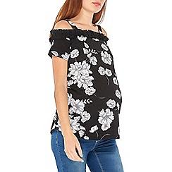 Dorothy Perkins - Maternity monochrome floral print ruffle bardot top