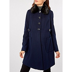 Dorothy Perkins - Maternity navy fur dolly coat