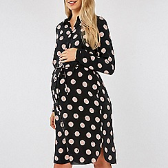 Dorothy Perkins - Maternity black and pink spotted shirt dress