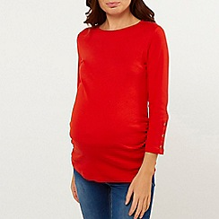 Dorothy Perkins - Maternity red 3/4 sleeves ribbed top