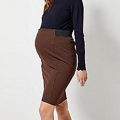 Dorothy Perkins - Maternity Brown Spot Print Jacquard Mini Skirt