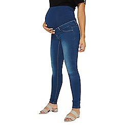 Dorothy Perkins - Maternity blue mid wash overbump super skinny fit jeans