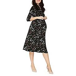 Dorothy Perkins - Maternity black floral dip back skater dress