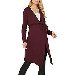 Dorothy Perkins - Maternity burgundy soft V-neck wrap tunic top
