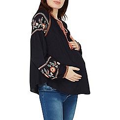 Dorothy Perkins - Maternity navy embroridered tassel top