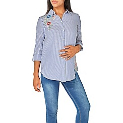 Dorothy Perkins - Maternity navy and ivory embroiderer striped shirt