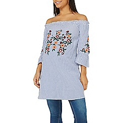 Dorothy Perkins - Maternity blue stripe embroidered tunic top