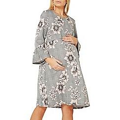 Dorothy Perkins - Maternity grey checked flute sleeve shift dress