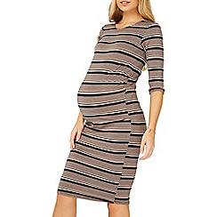 Dorothy Perkins - Maternity black and blush striped bodycon dress