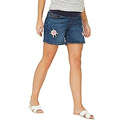 Dorothy Perkins - Maternity blue embroidered shorts
