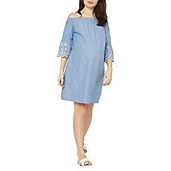Dorothy Perkins - Maternity blue broderie flute sleeve bardot dress