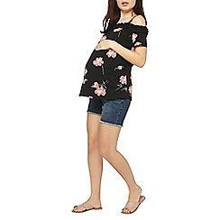 Dorothy Perkins - Maternity blue underband shorts with frayed hem