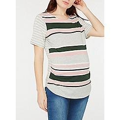 Dorothy Perkins - Maternity multicoloured striped curve hem t-shirt