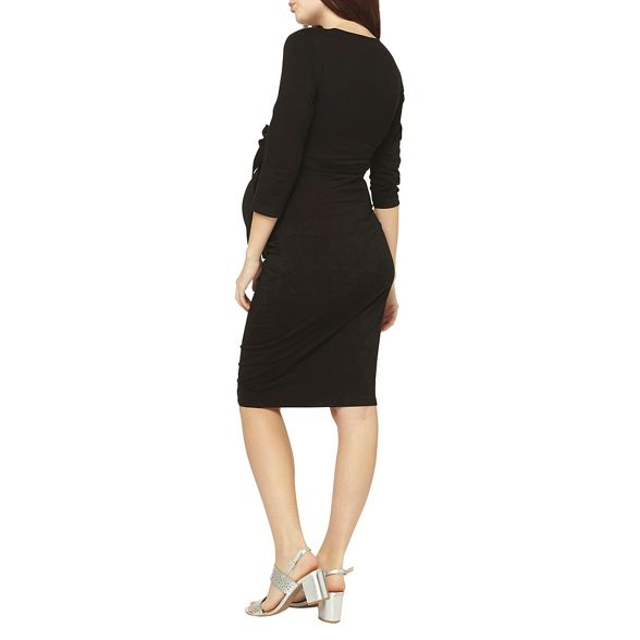 ruched bodycon dress black Perkins wrap Maternity Dorothy wW6zFanz