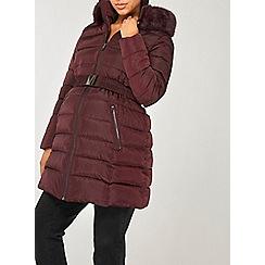 Dorothy Perkins - Maternity burgundy luxe padded coat