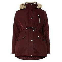 Dorothy Perkins - Maternity burgundy luxe parka jacket