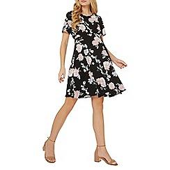 Dorothy Perkins - Maternity black rose print tea dress