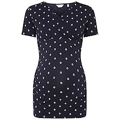 Dorothy Perkins - Maternity navy geometric print ruched wrap top