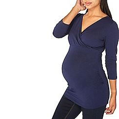 Dorothy Perkins - Maternity navy ruched wrap top