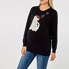 Dorothy Perkins - Maternity navy polar bear jumper
