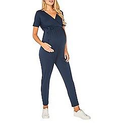 Dorothy Perkins - Maternity navy wrap tie jumpsuit