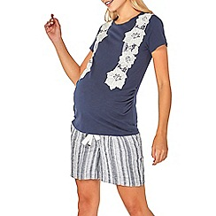 Dorothy Perkins - Maternity navy lace applique t-shirt
