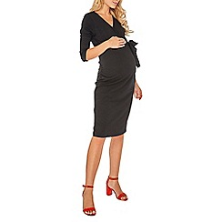 Dorothy Perkins - Maternity black 3/4 sleeve ruched wrap dress