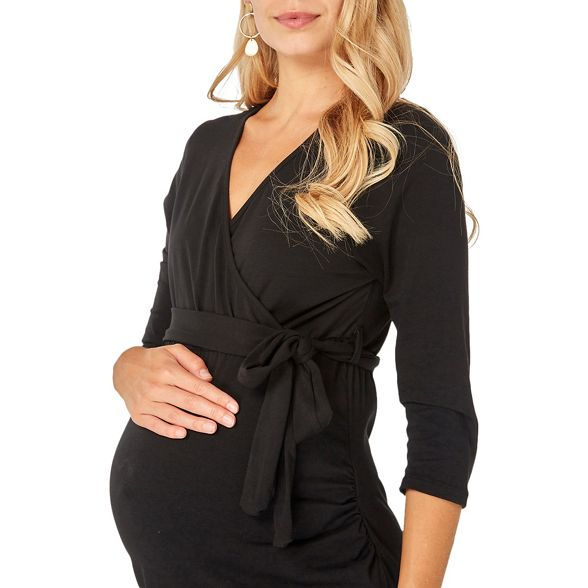 ruched wrap sleeve Dorothy Perkins black Maternity 4 dress 3 YqcOBPxw