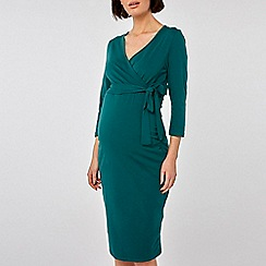 Dorothy Perkins - Maternity teal ruched wrap nursing dress