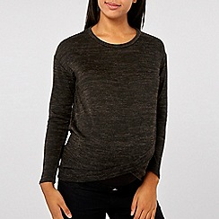 Dorothy Perkins - Maternity charcoal brushed wrap front sweat top