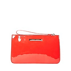 Dorothy Perkins - Coral patent zip top wristlet clutch bag