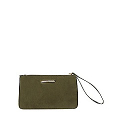 Dorothy Perkins - Khaki zip top wristlet clutch bag