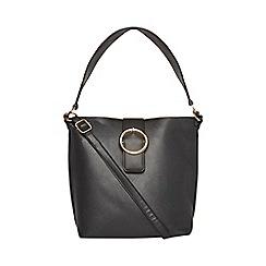 Dorothy Perkins - Black buckle hobo shopper bag