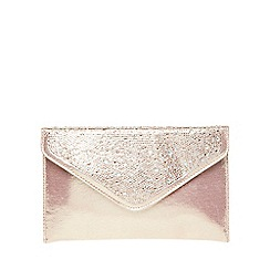 Dorothy Perkins - Pink glitter boxy clutch bag