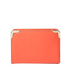 Dorothy Perkins - Coral metal corner boxy clutch bag
