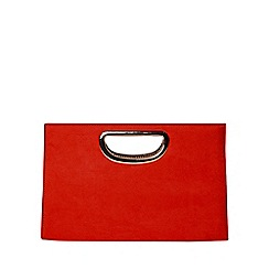 Dorothy Perkins - Red metal handle clutch bag