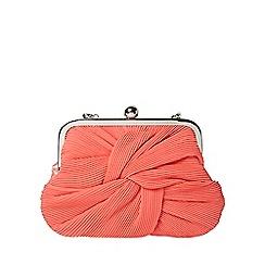 Dorothy Perkins - Coral pleat frame clutch bag