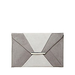 Dorothy Perkins - Grey two tone envelope clutch bag