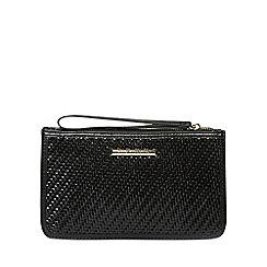 Dorothy Perkins - Black weave zip top wristlet clutch bag