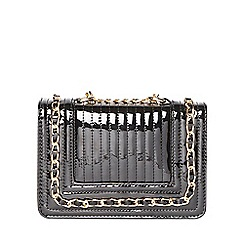 Dorothy Perkins - Black patent mini chain bag