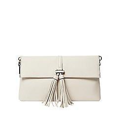 Dorothy Perkins - Off-white tassel clutch bag