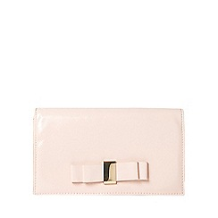 Dorothy Perkins - Nude patent bow clutch bag